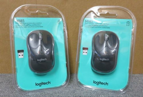 2 x New Sealed Logitech M185 910-002235 Plug And Play Wireless Optical Mouse